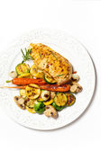 Grilled chicken breast with vegetables — Stock Photo