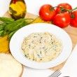 Chicken fettuccine alfredo with spinach — Stock Photo #38935019