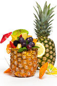 Fresh Fruit Salad in a Pineapple. Selective focus. — Foto de Stock