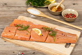Salmon with honey marinade ready to cook — Stock Photo