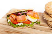 Smoked Salmon Sandwich — Stock Photo