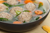 Chicken meatball soup — Stock Photo