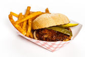 Barbecue Pulled Pork Sandwich with Potatoes — Stock Photo