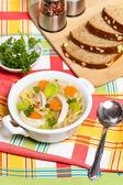Kuřecí nudlová polévka — Stock fotografie