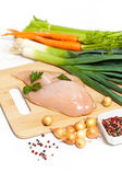 Raw chicken fillet with vegetables — Stock Photo