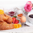 Breakfast- croissant, fruit salad and coffee — Stock Photo