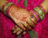 Beautiful hand decorated with heena — Stock Photo