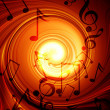 Swirling fire with music notes — Stock fotografie
