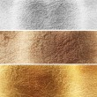 Aluminium, brass and copper plates - Stock Photo