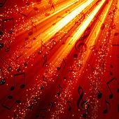 Musical notes on a burning background — Stock Photo