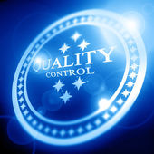 Blue quality control stamp — Stock Photo