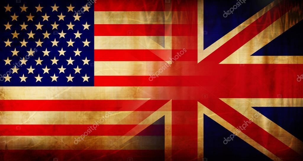 Флаг сша и великобритании стоковое
