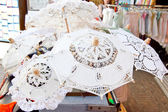 Lace from Burano, sovenir shop — Stock Photo