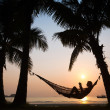 Sunset in hammock on the beach - Stock Photo
