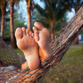 Woman in hammock — Stock Photo