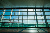Glass wall in the airport — Stock Photo