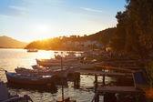 Boats at sunset — Stock Photo