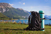 Backpack on the mountain — Stock Photo