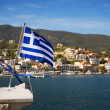 Greek flag on the boat — Stock Photo