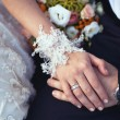 Wedding ring and lace bridal gloves — Stock Photo