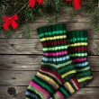 Christmas socks and fir tree — Stock Photo #34910407