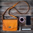 Woman bag stuff, handbag — Stock Photo