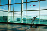 Luggage cart in airport — Stock Photo