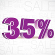 Vector 3D rendering of a 35 percent. Sale percents. Vector. — Stock Vector