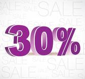 Vector 3D rendering of a 30percent. Sale percents. Vector. — Stock Vector