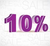 Vector 3D rendering of a 10 percent. Sale percents. Vector. — Stock Vector