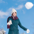 Throwing Snowball - Stock Photo