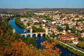 Autumn view from above to Pont Vlentre, Cahors, France — Stock Photo