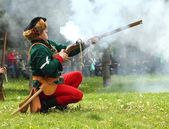 Reconstruction of a battle — Stock Photo