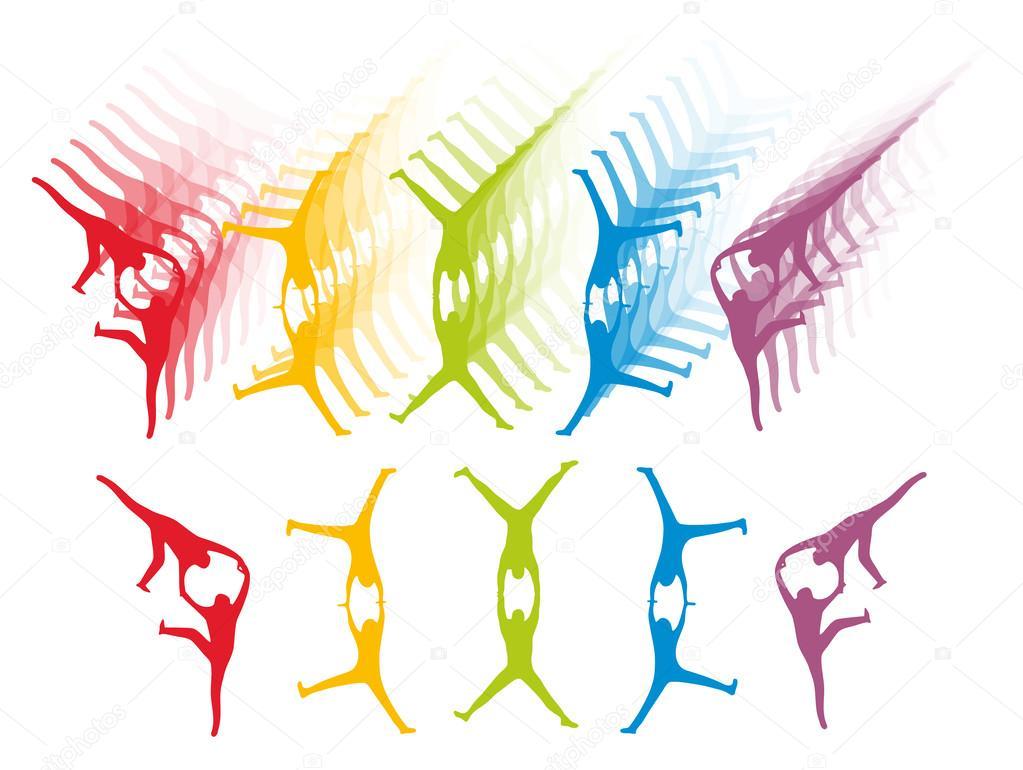 Gymnastics cartwheel silhouette