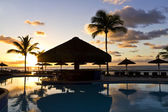 Sunrise at swimming pool in Bahia - Brazil. — Stock Photo