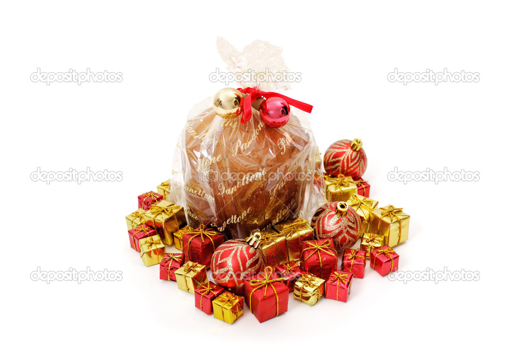 Isolated panettone and ornaments isolated on white background — Stock Photo #12590205