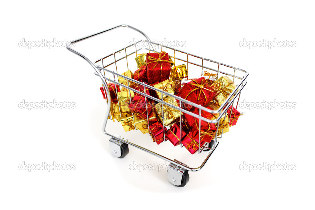 Gifts shopping cart on white background — Stock Photo #12598152