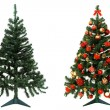 Before and after - Christmas tree - Stock Photo