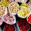 Bouquets, colored roses - Top view - Stock Photo
