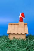 Santa Claus in den Himmel schauen — Stockfoto