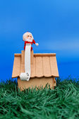 Santa on roof with a wish list — Stock Photo