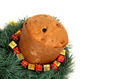 Panettone on the corner with gifts around — Stock Photo