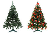 Before and after - Christmas tree — Stock Photo