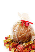 Isolated panettone and ornaments — Stock Photo