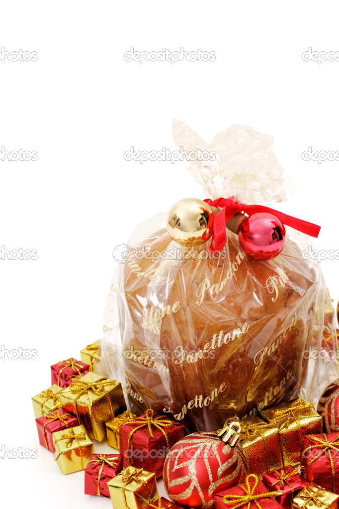 Isolated panettone on white background for christmas. Panettone is a typical bread of Milan, usually prepared and enjoyed for Christmas and New Year around Italy, an — Stock Photo #13361914