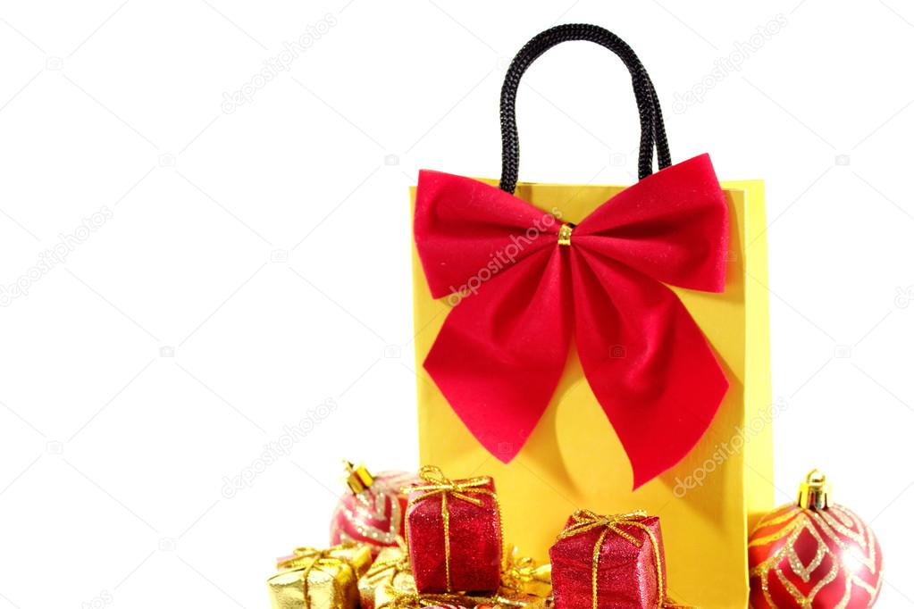 Bag with xmas ornaments isolated on a white background. — Stock Photo #13361930