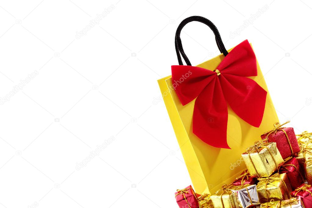 Bag with xmas ornaments isolated on a white background.  Stock Photo #13361940
