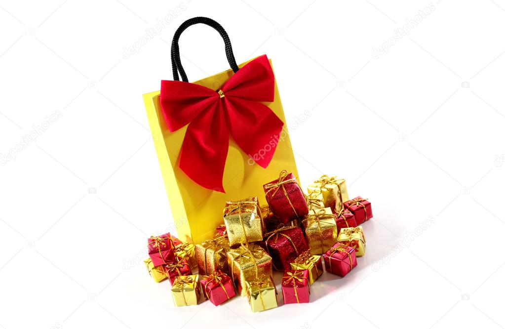 Bag with xmas ornaments isolated on a white background. — Stock Photo #13361948