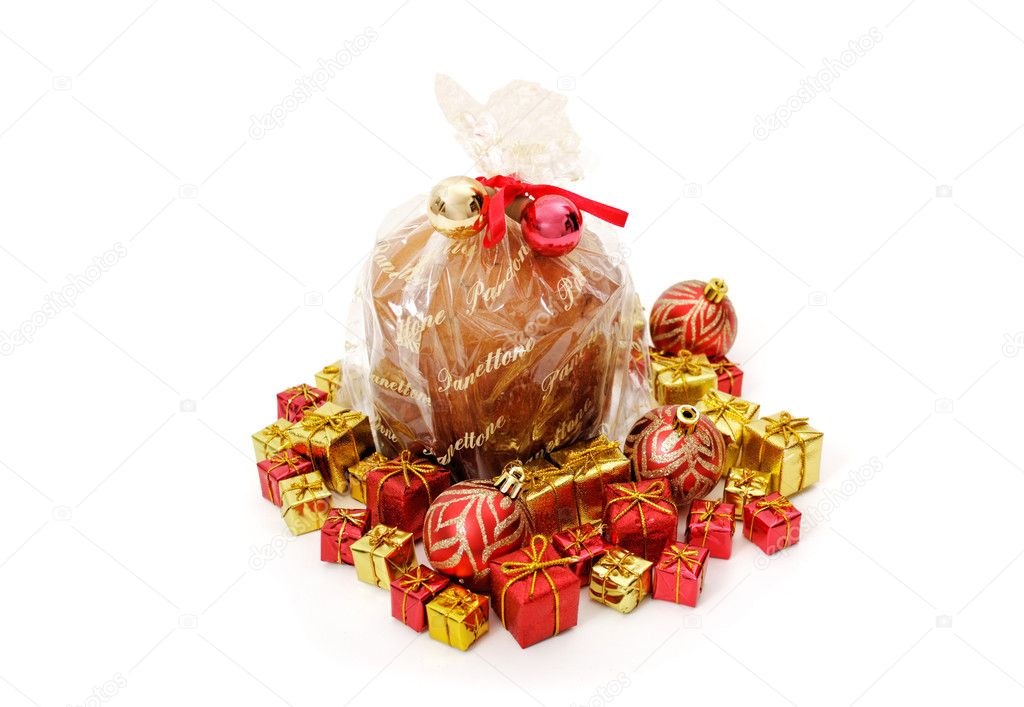 Isolated panettone on white background for christmas — Stock Photo #13362164