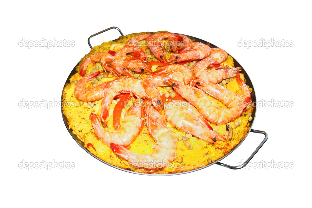 Isolated Paella on white background - Spanish cuisine — Stock Photo #13362195